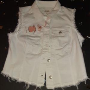 WaX Jean's distressed white jean vest